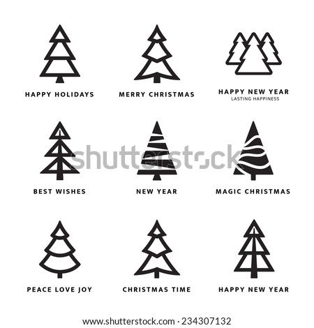 Black Christmas trees collection with white background - stock vector