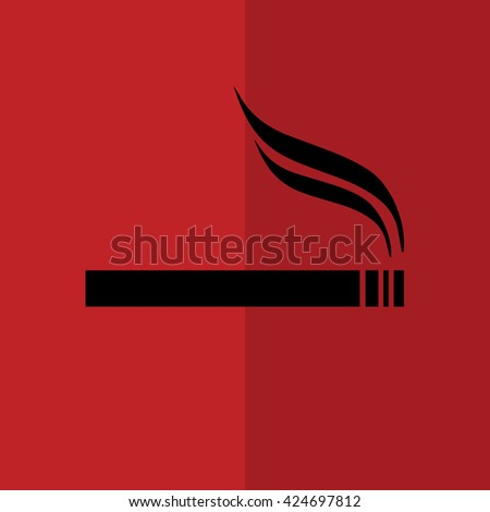 Black cigarette vector icon. Allowed smoking sign. Red background - stock vector