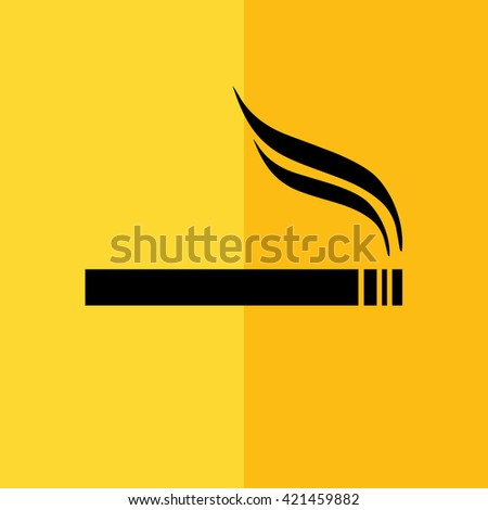 Black cigarette vector icon. Allowed smoking sign. Yellow background - stock vector