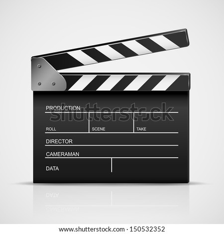 Black cinema clapper isolated on a gray background, illustration. - stock vector