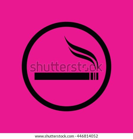 Black circle cigarette vector icon. Allowed smoking sign. Pink background - stock vector
