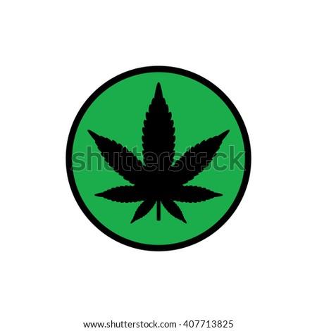 black circle marijuana leaf vector icon stock vector 2018 rh shutterstock com Horny Goat Weed Yin and Yang Theory