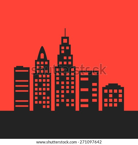 black city landscape on red background. concept of skyline, environment, journey, trip, tourism, nightlife, outdoors, mortgage, rental of property. flat style modern design eps10 vector illustration - stock vector