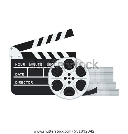 Black clapper board for film and film reel and twisted cinema tape. Flat vector cartoon illustration. Objects isolated on a white background.