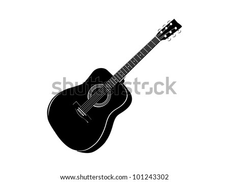 black classic guitar stencil ready for vinyl cut - stock vector
