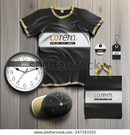 Black classic promotional souvenirs design for corporate identity with white line. Stationery set - stock vector