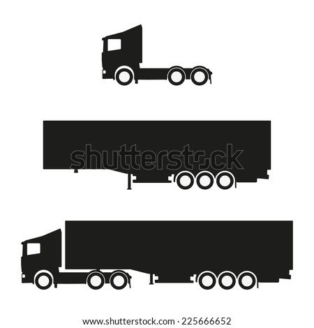 Black clean vector lorry with trailer silhouettes - stock vector