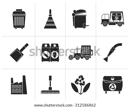 Black Cleaning Industry and environment Icons - vector icon set - stock vector