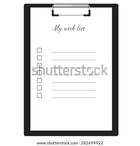 Black clipboard and my wish list with empty check boxes vector illustration. Survey icon, checklist icon  - stock vector