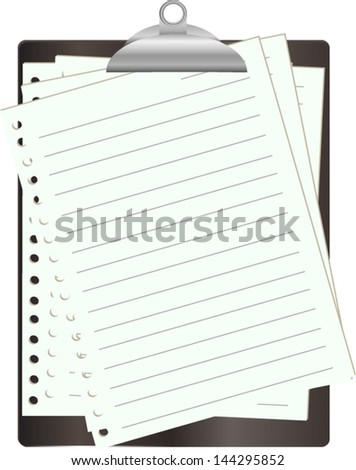 Black clipboard with white paper on white - stock vector