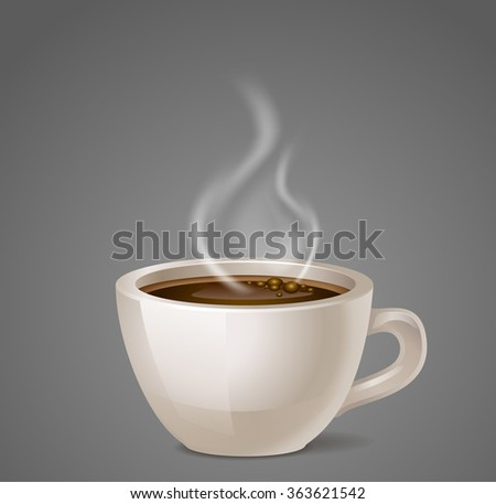 black coffee cup vector icon with steam - stock vector