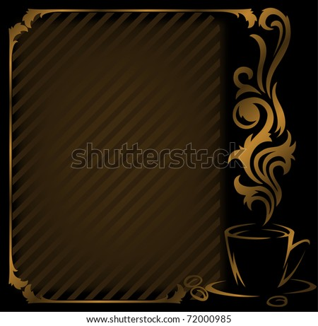 black coffee diagonal frame with a gold cup - stock vector