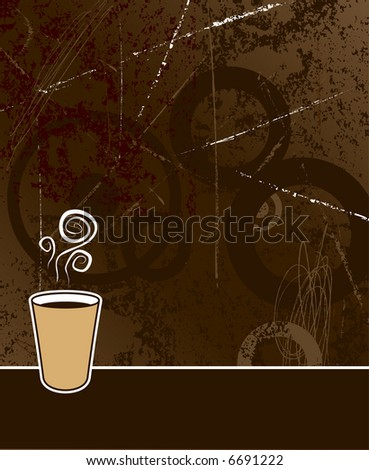 black coffee to go on coffee colored grunge background - stock vector