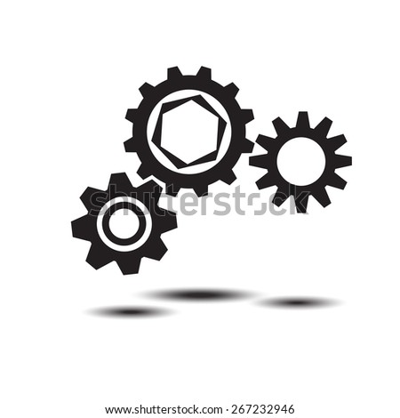 black cogs (gears) on light background. Vector illustration - stock vector