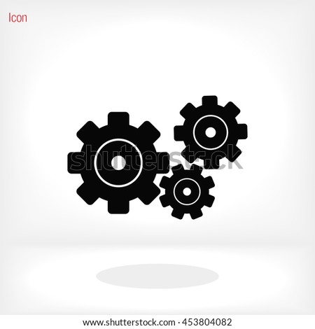 black cogs on white background icon - stock vector
