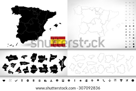 Black color blind map of Spain with pictogram icon set/Black color blind map of Spain. - stock vector