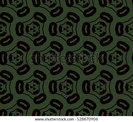 Black color geometry seamless pattern. Abstract line, shape. Vector illustration. Green background. For design, interior, wallpaper