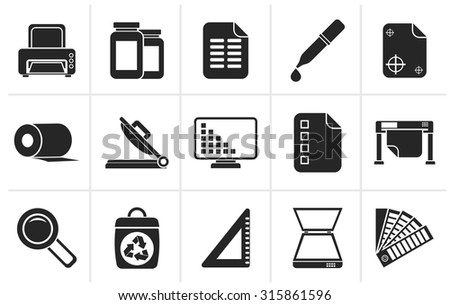 Black Commercial print icons - vector icon set - stock vector