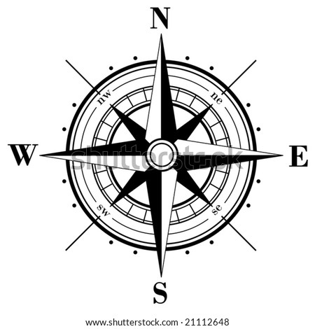 Black compass rose  isolated on white - vector - stock vector
