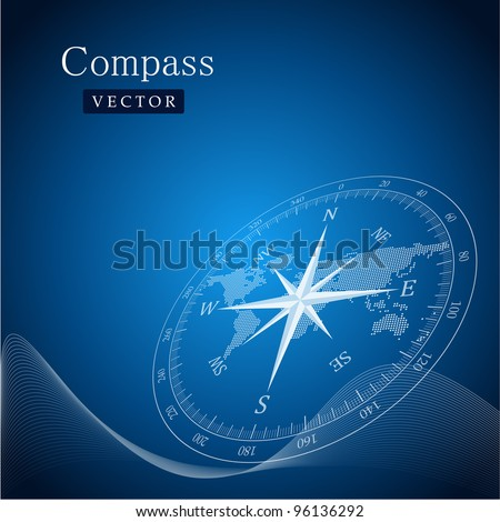 Black compass vector illustration. - stock vector
