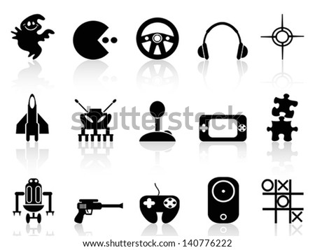 black computer game icon - stock vector
