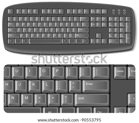 Black computer keyboard - EPS 8 vector icon - stock vector