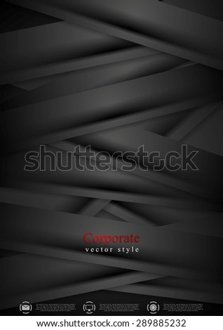 Black concept corporate abstract background with stripes. Vector design - stock vector
