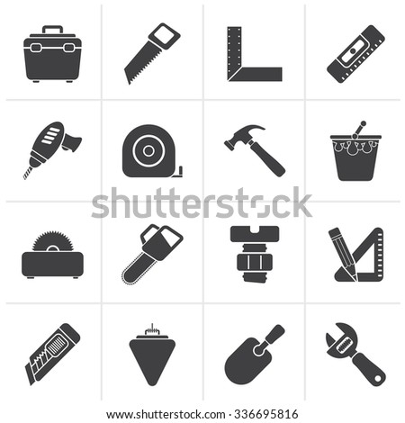 Black Construction objects and tools icons- vector icon set - stock vector