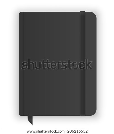 Black copybook moleskin cover with elastic band and bookmark. Vector illustration - stock vector