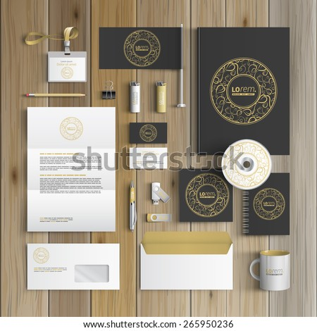 Black corporate identity template design with round golden element and floral pattern. Business stationery - stock vector