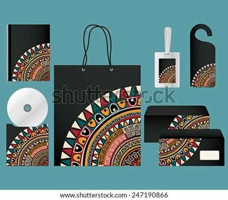 Black corporate identity template with tribal motif - stock vector