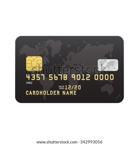 Black Credit card template isolated on white background. Vector illustration. - stock vector