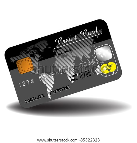 Black credit card with world map and security symbols. Banking concept - stock vector