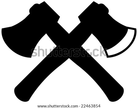 black crossing hatchet icon set - stock vector