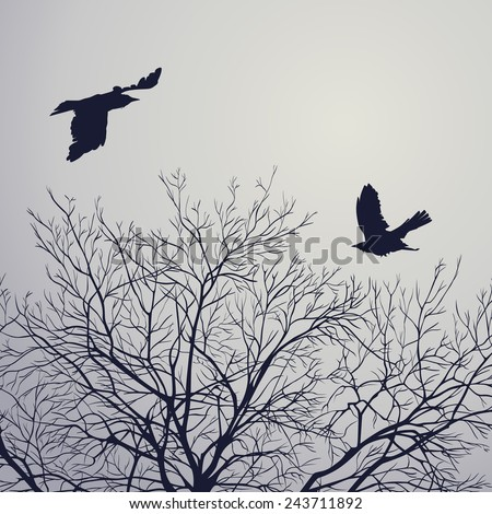 Black crow on lead sky. All elements can be painted and used separately. - stock vector