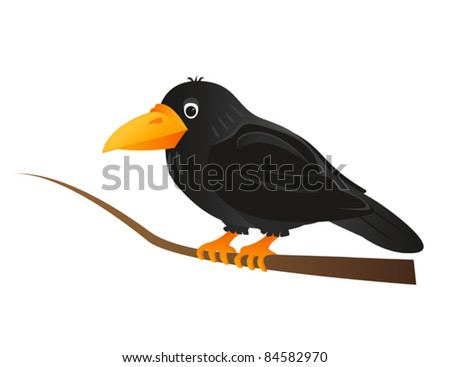 Black crow sitting on tree branch - stock vector