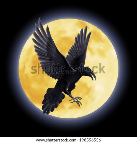 Black crow soars on the background of a full moon night - stock vector