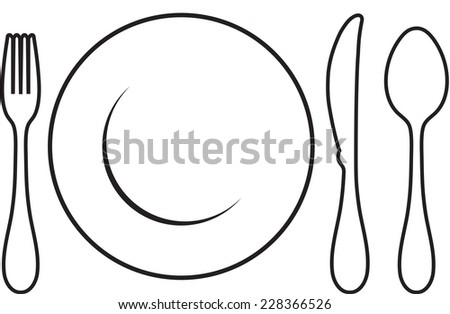 Black cutlery setting isolated on white background - stock vector