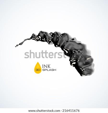 Black 3D ink or oil splash isolated on white, vector background - stock vector