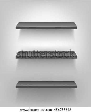 black 3d shelves on a white background.   - stock vector