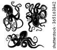 black danger cartoon octopus...