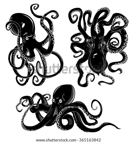 Black danger cartoon octopus characters with curling tentacles swimming underwater, isolated on white. Tattoo or pattern on a t-shirt, poster or logo, vector illustration - stock vector