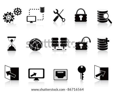 black database and technology icon - stock vector