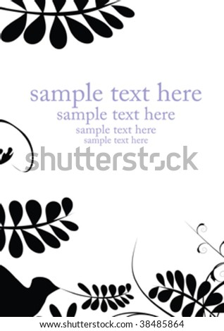 black decorative leaf isolated on white with place for text