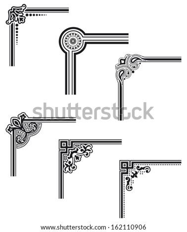 black decorative vector frame corners - stock vector