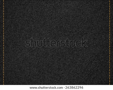 Black denim jeans texture background - stock vector
