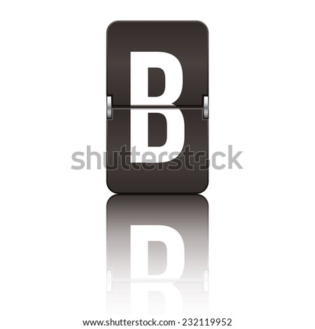 Black departure board letter b from a series of flipboard letters. - stock vector