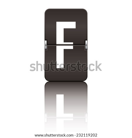 Black departure board letter f from a series of flipboard letters. - stock vector