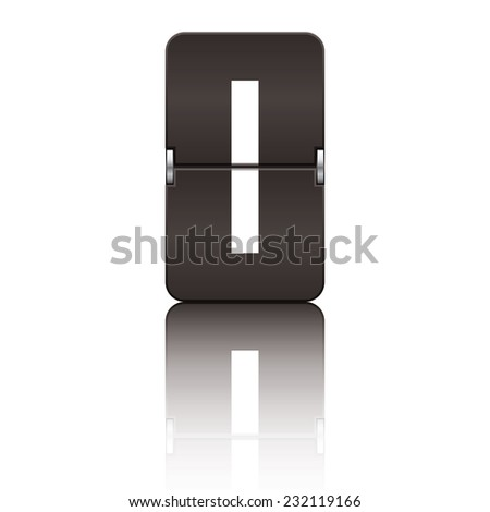 Black departure board letter i from a series of flipboard letters. - stock vector
