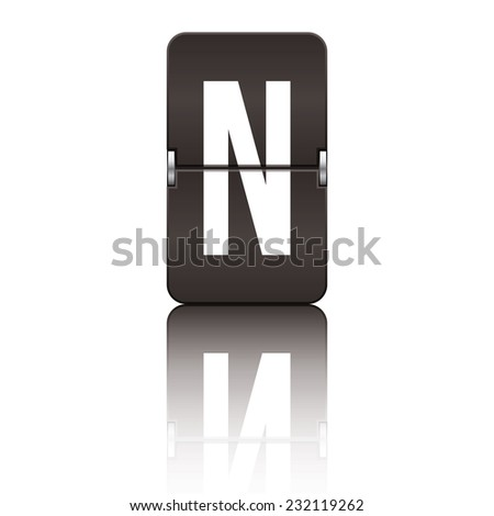 Black departure board letter n from a series of flipboard letters. - stock vector